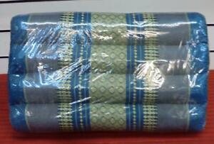 THAI TRIANGLE CUSHION HANDMADE ASIAN FAIRTRAID 50CM LENGTH BY 32 CM BLUE DESIGN