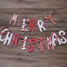 Wooden Merry Christmas Bunting Garland Banner Hanging Xmas Party Decoration