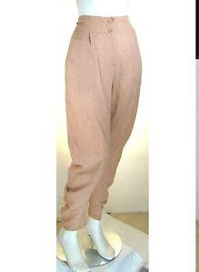 Pantaloni Donna REBEKA ROSS by RISSKIO Italy LU383 Affusolato Beige/Rosa Tg 48