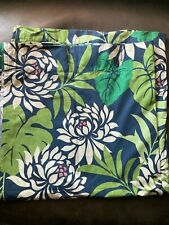 POTTERY BARN SHOWER CURTAIN 100% COTTON Floral Print - Blue Green Multicolor New