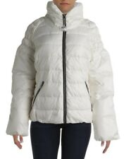 New BIG CHILL Ivory Cream Winter White Quilted Down Puffer Zip Jacket Womens L