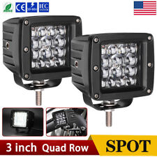 """3"""" inch Quad Row LED Pods Work Light Bar Spot Beam 6000K Offroad 4WD Tractor ATV"""