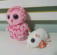 TY BEANIE BOOS TY PINKY THE OWL 2014 ANNA THE MOUSE TY TEENY TYS 2017