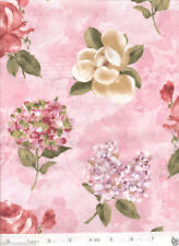 Floral Calligraphy Large Flower PINK Quilt Fabric - Free Shipping - 1 Yard