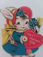 1940-50s MECHANICAL Vtg Norcross BUNNY GIRL w Baby in Pocket GREETING CARD