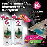 RESINA EPOSSIDICA TRASPARENTE KCRYSTAL KG 1,6 AUTOLIVELLANTE - EFFETTO SPECCHIO