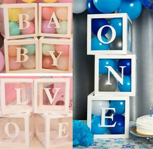 BABY LOVE ONE Transparent Balloon Box Gift Boxes Birthday Baby Shower Party Dec
