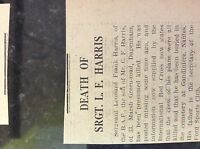 M3-9b ephemera 1941 dagenham ww2 war news r a f sgt leonard harris dies on raid