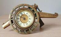 Antico orologio in bronzo ottone e rame con quadrante in ceramica fine 800