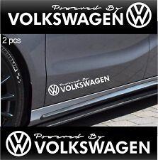 2 pcs POWERED BY VOLKSWAGEN Stickers Decals Golf GTI Jetta Passat WHITE