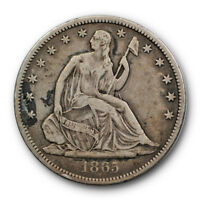 1865 S 50C Seated Liberty Half Dollar Very Fine to Extra Fine #8826