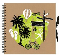 Holiday Travel Scrapbook Photo Album Spiral Bound Black Paper 40 Page TRVL