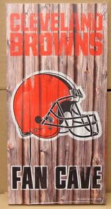 """CLEVELAND BROWNS FAN CAVE WOOD SIGN 6""""X12'' BRAND NEW WINCRAFT"""