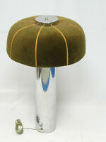 CHIC VINTAGE 70's CHROME BASE MOHAIR SHADE MUSHROOM TABLE LAMP 27""