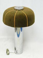 "CHIC VINTAGE 70's CHROME BASE MOHAIR SHADE MUSHROOM TABLE LAMP 27"""