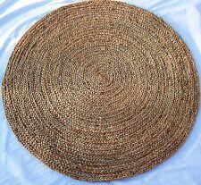 Indiano Rotondo Tappeto-iuta con BLUE specie 3 piedi (0.92 MTS) dia.s005