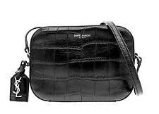 YSL Saint Laurent Croc Camera Bag Crossbody Black Leather Bag New