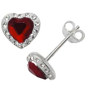 Silver Ruby Zirconia & Crystal Stud Heart Earrings July Birthstone Jewellery