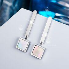 18k white gold gp stainless steel square Natural shell stud dangle earrings