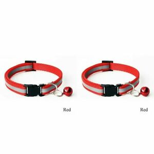Adjustable Reflective  Nylon Cat Collar with Bell for Cat Kitten small dog puppy