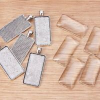 5Sets Alloy Pendant Settings & Glass Cabochons Rectangle Antique Silver 48x21mm