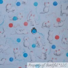 BonEful FABRIC FQ Cotton Flannel Quilt Blue White Pink Baby Girl Boy Kitty Cat S