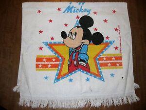 MICKEY MOUSE in overalls vtg bath towel Walt Disney OG star logo 1970s