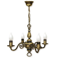 CHANDELIER 4 ARMS TRADITIONAL CEILING LIGHT - ANTIQUE BRASS FINISH - CANDLE LED