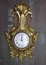 Wanduhr Schwan in Gold mit Thermometer Antik look 38x65cm BAROCK Quarzuhr UHR