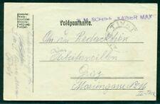 1918, Hungary Naval card, ship 'KAISER MAX' purple straight line ship cancel, VF