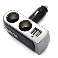 2 Way Dual Socket USB Port Car Cigarette Lighter Splitter Charger Adapter 12/24V