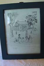 Amish Pencil Sketch One Room Schoolhouse Children Lancaster M Loski