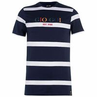 Gio Goi Mens Stripe Embroidered T Shirt Crew Neck Tee Top Short Sleeve Cotton