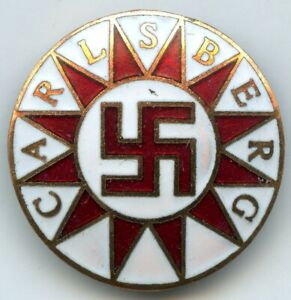 Denmark Danish Vintage Carlsberg Beer Swastika Badge Pin RARE !!!