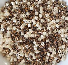 20grams Cream and Bronze Mix Toho Size 8 (3mm) Hex Beads - No. 123