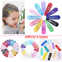 20pcs Girl Snap Hair Clips Baby Hairpins Colorful Metal Barrettes Accessories-RO