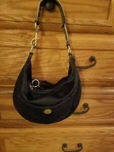 Authentic Coach  Hampton Hobo Black  Satin Small  Shoulder Bag