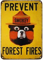 Smokey Bear Prevent Forest Fires Outdoors Camp Rustic Retro Metal Sign 8x12 Inch