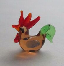 T barn country Rooster glass miniature figurine Mini diorama collectible world