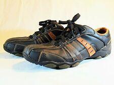 Skechers Mens Black Tan Leather Memory Foam Oxfords Biker Toe Shoes MEN 7