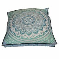 "35"" Square Cushion Pillow Cover Elephant Mandala Throw Indian Floor Ottoman Pouf"