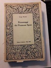 """libro saggio """"Personaggi dei Promessi Sposi""""  Luigi Russo Editore Laterza 1962"""