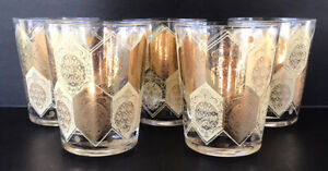 Vintage Mid Century Glass Tumblers Pineapples 22k Gold Vera Double Old Fashioned