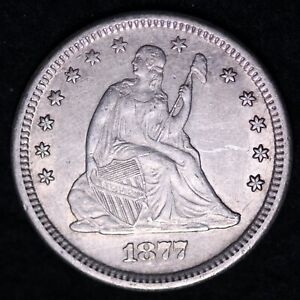 1877-S Seated Liberty Quarter CHOICE AU+ FREE SHIPPING E633 JCKM