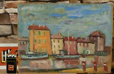 Zuschreibung Ernst Pader 1915-1978 Ölgemälde von 1975 Hafen Grado Italien Adria