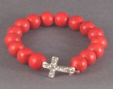 Christian Bracelet Stone Beads Silver Cross Rhinestone Accent RED Low Stock!!