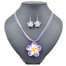 Purple Beautiful Flower  Lovely Girl&Lady Hawaiian Necklace Earrings Jewelry Set
