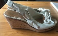 Sperry Top sider Cork Wedge Heels Sandals Shoes Cream Womens Size 9 M