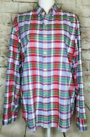 J Crew Women Button Up Shirt Tartan Plaid Red Green White Blue Long Sleeve Large