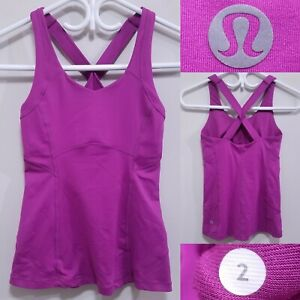 Lululemon Run Purple Top Size 2 XXS Yoga Shirt Racerback Magenta Run Bra
